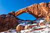 South Window, eastern face, sunrise, winter. South Window, Arches National Park, Utah, USA
