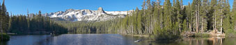 Panorama of Lake Mamie in the Mammoth Lakes basin, early morning. California, USA. Image #19125