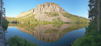 Panorama of cliffs rising about Twin Lakes at sunrise, Mammoth Lakes. California, USA. Image #19127