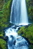 Wahkeena Falls drops 249 feet in several sections through a lush green temperate rainforest. Columbia River Gorge National Scenic Area, Oregon, USA. Image #19324