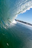 Breaking wave, tube, hollow barrel, morning surf. Image #19539