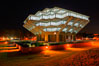 UCSD Library glows with light in this night time exposure (Geisel Library, UCSD Central Library). University of California, San Diego, La Jolla, California, USA. Image #20144