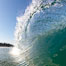 Cresting wave, morning light, glassy water, surf. Cardiff by the Sea, California, USA. Image #20818