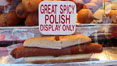 Hot dog, great spicy polish. Del Mar Fair, Del Mar, California, USA. Image #20861