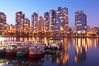 Yaletown section of Vancouver at night, viewed from Granville Island. British Columbia, Canada. Image #21165