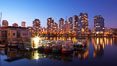Yaletown section of Vancouver at night, viewed from Granville Island. British Columbia, Canada. Image #21166