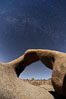 Mobius Arch with the Milky Way galaxy appearing in the night sky above. Alabama Hills Recreational Area, California, USA. Image #21737