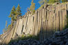 Devil's Postpile, a spectacular example of columnar basalt.  Once molten and under great pressure underground, the lava that makes up Devil's Postpile cooled evenly and slowly, contracting and fracturing into polygonal-sided columns.  The age of the formation is estimated between 100 and 700 thousand years old.  Sometime after the basalt columns formed, a glacier passed over the formation, cutting and polishing the tops of the columns.  The columns have from three to seven sides, varying because of differences in how quickly portions of the lava cooled. Devils Postpile National Monument, California, USA. Image #23266