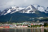 Ushuaia, the southernmost city in the world, lies on the Beagle Channel with a small portion of the Andes mountain range rising above.  Ushuaia is the capital of the Tierra del Fuego region of Argentina and the gateway port for many expeditions to Antarctica. Image #23602