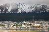 Ushuaia, the southernmost city in the world, lies on the Beagle Channel with a small portion of the Andes mountain range rising above.  Ushuaia is the capital of the Tierra del Fuego region of Argentina and the gateway port for many expeditions to Antarctica. Image #23604