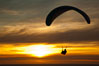 Paraglider soaring at Torrey Pines Gliderport, sunset, flying over the Pacific Ocean. La Jolla, California, USA. Image #24295