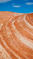 Striated sandstone formations, layers showing eons of geologic history. Valley of Fire State Park, Nevada, USA. Image #26479