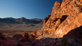 Sandstone cliffs and view across the Valley of Fire. Valley of Fire State Park, Nevada, USA. Image #26492