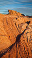 Sandstone striations and butte, dawn. Valley of Fire State Park, Nevada, USA. Image #26499