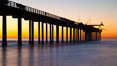 Research pier at Scripps Institution of Oceanography SIO, sunset. La Jolla, California, USA. Image #26531