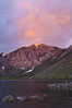 Sunrise and storm clouds over Convict Lake and Laurel Mountain, Eastern Sierra Nevada. California, USA. Image #26882