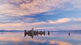 Mono Lake sunset, tufa and clouds reflected in the still waters of Mono Lake. California, USA. Image #27005