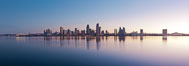 San Diego downtown city skyline and waterfront, sunrise, dawn, viewed from Coronado Island. California, USA