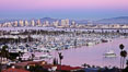 San Diego harbor and skyline, viewed at sunset. California, USA. Image #27146