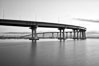 San Diego Coronado Bridge, known locally as the Coronado Bridge, links San Diego with Coronado, California. The bridge was completed in 1969 and was a toll bridge until 2002. It is 2.1 miles long and reaches a height of 200 feet above San Diego Bay. USA. Image #27174