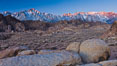 Alabama Hills and Sierra Nevada, sunrise. Alabama Hills Recreational Area, California, USA. Image #27625
