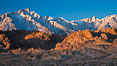 Alabama Hills and Sierra Nevada, Lone Pine Peak and Mount Whitney, sunrise. Alabama Hills Recreational Area, California, USA. Image #27630