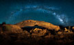 Panorama of the Milky Way over Mesa Arch. Mesa Arch, Canyonlands National Park, Utah, USA. Image #27824
