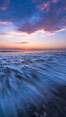 Waves rush in at sunset, Carlsbad beach sunset and ocean waves, seascape, dusk, summer. California, USA. Image #27970