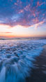 Waves rush in at sunset, Carlsbad beach sunset and ocean waves, seascape, dusk, summer. California, USA. Image #27971