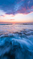 Waves rush in at sunset, Carlsbad beach sunset and ocean waves, seascape, dusk, summer. California, USA. Image #27972