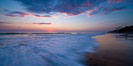 Waves rush in at sunset, Carlsbad beach sunset and ocean waves, seascape, dusk, summer. California, USA. Image #27973