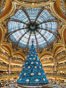 Christmas tree display at les Galeries Lafayette.  The Galeries Lafayette is an upmarket French department store company located on Boulevard Haussmann in the 9th arrondissement of Paris. France. Image #28131