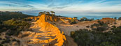 Broken Hill and view to La Jolla, panoramic photograph, from Torrey Pines State Reserve, sunrise. Torrey Pines State Reserve, San Diego, California, USA. Image #28397