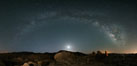 Joshua Tree National Park, Milky Way and Moon, Shooting Star, Comet Panstarrs, Impending Dawn. Joshua Tree National Park, California, USA