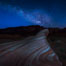 Milky Way galaxy rises above the Fire Wave, Valley of Fire State Park. Nevada, USA. Image #28427