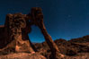 Elephant arch and stars at night, moonlight, Valley of Fire State Park. Nevada, USA. Image #28435