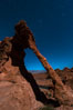 Elephant arch and stars at night, moonlight, Valley of Fire State Park. Nevada, USA