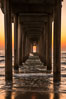 Scripps Pier solstice, sunset aligned perfectly with the pier. Scripps Institution of Oceanography, La Jolla, California, USA. Image #28476
