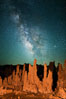 Tufa and Stars at Night, Milky Way galaxy. Mono Lake, California, USA. Image #28519