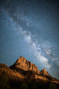 Milky Way over the Watchman, Zion National Park.  The Milky Way galaxy rises in the night sky above the the Watchman. Utah, USA. Image #28586