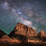 Milky Way over the Watchman, Zion National Park.  The Milky Way galaxy rises in the night sky above the the Watchman. Utah, USA. Image #28587