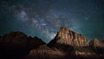 Milky Way over the Watchman, Zion National Park.  The Milky Way galaxy rises in the night sky above the the Watchman. Utah, USA. Image #28591