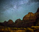 Milky Way over the Watchman, Zion National Park.  The Milky Way galaxy rises in the night sky above the the Watchman. Utah, USA. Image #28592