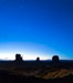 Monument Valley panorama, sunrise, dawn, stars in the sky. Arizona, USA. Image #28599