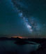 Milky Way and stars over Crater Lake at night. Panorama of Crater Lake and Wizard Island at night, Crater Lake National Park. Oregon, USA. Image #28642