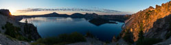 Panoramic picture of Crater Lake at dawn, sunrise, morning, panorama of Crater Lake National Park. Oregon, USA. Image #28646