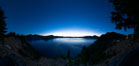 Panoramic picture of Crater Lake at dawn, sunrise, morning, panorama of Crater Lake National Park. Oregon, USA. Image #28649