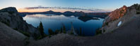 Panoramic picture of Crater Lake at dawn, sunrise, morning, panorama of Crater Lake National Park. Oregon, USA. Image #28652