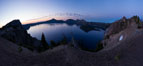 Panoramic picture of Crater Lake at dawn, sunrise, morning, panorama of Crater Lake National Park. Oregon, USA. Image #28658