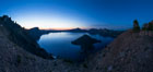 Panoramic picture of Crater Lake at dawn, sunrise, morning, panorama of Crater Lake National Park. Oregon, USA. Image #28659